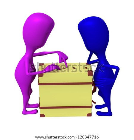 Side view puppets discuss over package in suitcase - stock photo