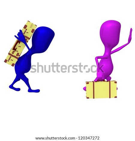 Side view puppets move to station with carriage - stock photo