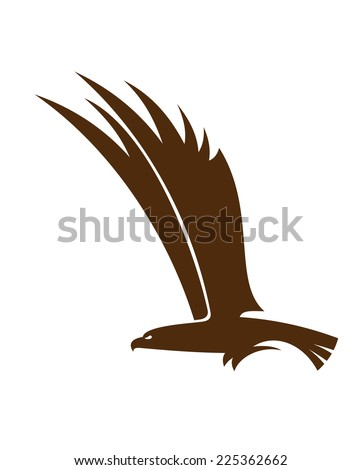 Side view silhouette of a flying falcon  or hawk with its powerful wings raised for mascot or tattoo design - stock photo