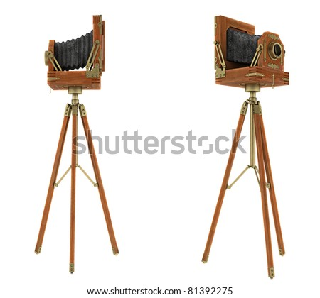 Side views of vintage large format camera isolated on white - stock photo