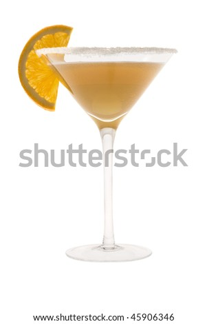 Sidecar mixed drink with orange slice garnish on white background - stock photo