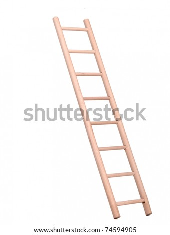 Sideview of a wooden ladder - stock photo