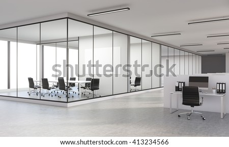 Sideview of concrete office interior with blank whiteboard. 3D Rendering - stock photo