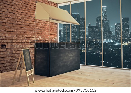 Sideview of empty food stand and menu board in shop interior at night. Mock up, 3D Render - stock photo