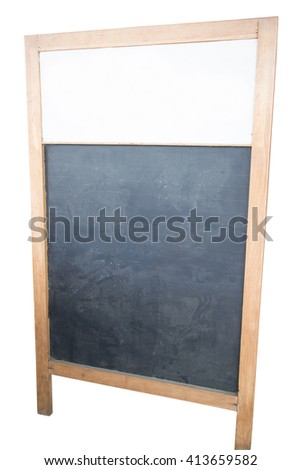 Sidewalk chalkboard isolated on white background.