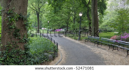 Sidewalk in Central Park in the early morning - stock photo