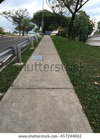 Sidewalk in Nanyang university