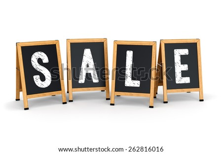 Sidewalk signs with text SALE isolated on white background. Business promotion and marketing concept. - stock photo