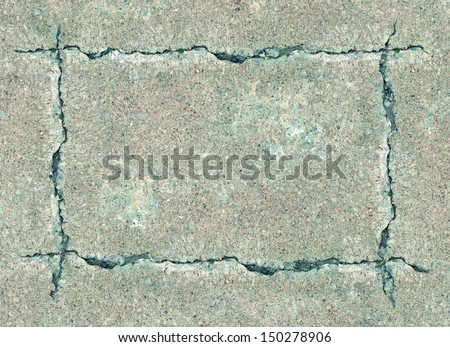 Sidewalk talk as a cracked concrete frame construction concept with cracks in rough cement shaped as a framed blank sign with copy space as an icon of a weathered urban scene background. - stock photo