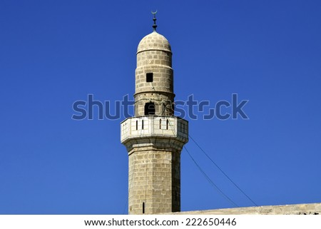 Sidna Ali Mosque minaret at Mediterranean seaside in Israel. - stock photo