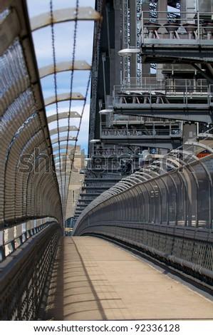 Sidney Harbour bridge Abstract modern hallway - stock photo
