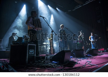 SIEDLCE, POLAND - FEBRUARY 28: Band Czeslaw Spiewa perform on stage at Podlasie on February 28.2013 in Siedlce, Poland - stock photo