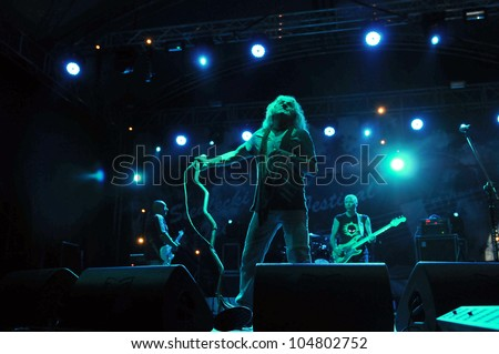 SIEDLCE, POLAND - JUNE 09: Band Perfect perform on stage at Siedlecki Rock Open Air Festival on June 09, 2012 in Siedlce, Poland - stock photo