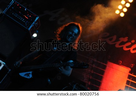 SIEDLCE, POLAND - JUNE 26: Plum performs on stage at Siedlecki Rock Open Air Festival on June 26, 2011 in Siedlce, Poland