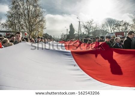 SIEDLCE, POLAND-11 NOVEMBER 2013: Polish Independence Day Parade on 11 November 2013 in Siedlce, Poalnd - stock photo