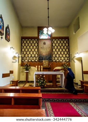 SIEDLEC, POLAND, November 22, 2015 .: Chapel of the Blessed soul of Christ the Lord in Siedlcu with a picture of Adolf Hyla, Poland - stock photo