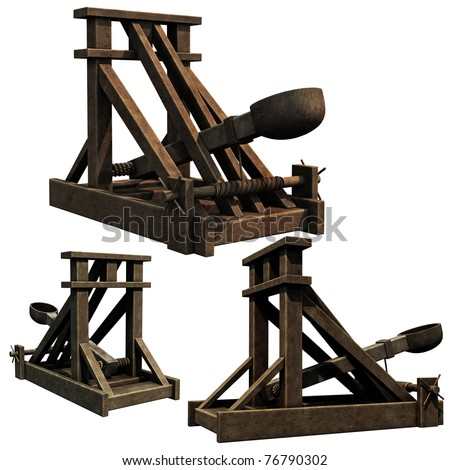 Siege Engine, 3d renders of a medieval catapult - stock photo