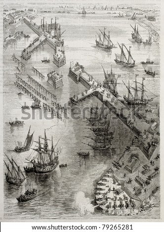 Siege of La Rochelle: view of Richelieu breakwater built by Du Plessis and Vassal. Created by Rouargue after engraving of 17th century by Callot. Published on Magasin Pittoresque, Paris, 1850 - stock photo