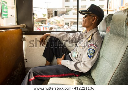 Siem reap, Cambodia - Apr 14, 2016 - Cambodian tourist police at  border - stock photo