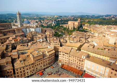 Siena, aeral view from the Tower of Piazza del Campo - Italy - stock photo