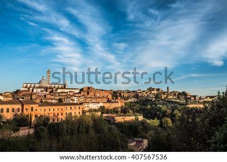 Siena at Sunset - stock photo
