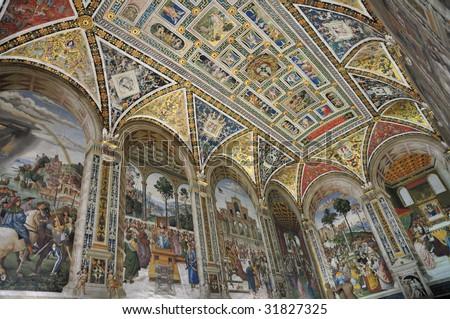 Siena Cathedral  - Piccolomini Library - stock photo