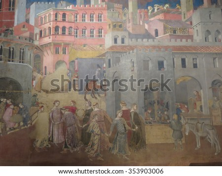 SIENA, ITALY - CIRCA DECEMBER 2014: Ambrogio Lorenzetti 1285-1348, Allegory of the Good Government: Effects of Good Government on the City Life, 1338-1340, - stock photo