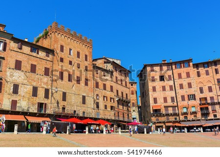 Siena, Italy - July 07, 2016: Piazza del Campo with unidentified people. Its the main square of the historic center of Siena and is regarded as one of Europes greatest medieval squares
