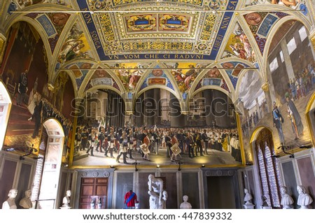 SIENA, ITALY, JUNE 14, 2016 : interiors and architectural details of the Palazzo Pubblico, Siena piazza del campo, june 14, 2016 in Siena, Italy
