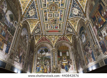 SIENA, ITALY, june 11, 2016 : The Piccolomini library at the duomo cathedral, on june 11, 2016,  Siena, Tuscany, italy
