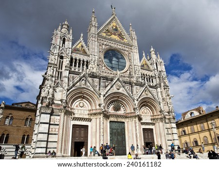 Siena, Italy - September 1: Siena Cathedral, also known as Duomo, against a partly clouded sky. September 1, 2014 in Siena, Italy