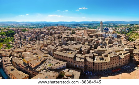 Siena panorama view from Torre Mangia tower - stock photo