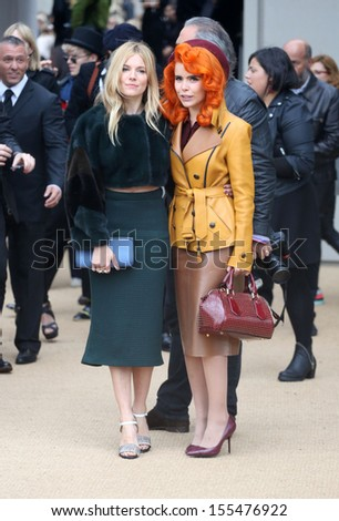 Sienna Miller and Paloma Faith at London Fashion Week SS14  - Burberry Prorsum s/s 2014 - Arrivals, London. 16/09/2013