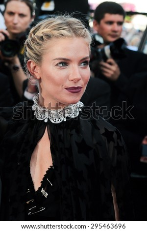 Sienna Miller attend the 'Carol' premiere during the 68th annual Cannes Film Festival on May 17, 2015 in Cannes, France.  - stock photo