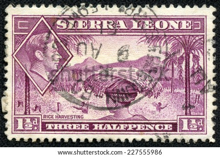 "SIERRA LEONE - CIRCA 1940: Depicting indigenous person and an inset of King George VI, with inscription ""Rice harvesting"", and a face value of 1 1/2 pence, circa 1940 - stock photo"