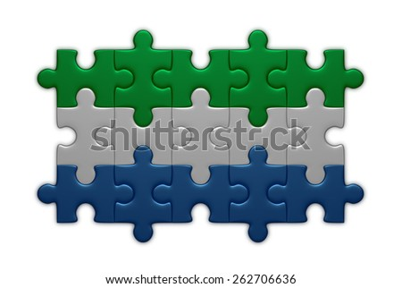 Sierra Leone flag assembled of puzzle pieces isolated on white background - stock photo