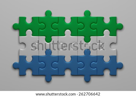Sierra Leone flag assembled of puzzle pieces on gray background - stock photo