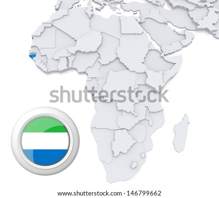 Sierra Leone with national flag - stock photo