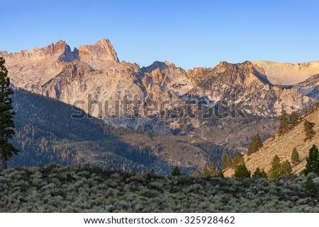 Sierra Nevada Sawtooth Ridge near Bridgeport, CA and Twin Lakes Campground - stock photo
