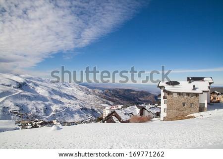 Sierra Nevada ski station and National Park and Veleta Peak (3.396 mts.). Granada, Andalusia,Spain - stock photo