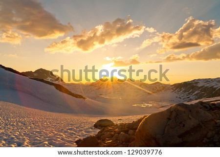 Sierra Nevada Sunset at Muir Pass, California, USA - stock photo