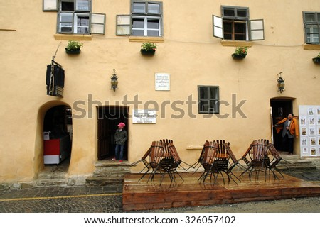 SIGHISOARA, ROMANIA - MAY 18: The house where King Vlad Tepes alias Dracula lives between 1431-1435 is visited every year by thousands of tourists. On May 12, 2008 in Sighisoara, Romania - stock photo