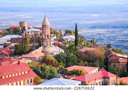 Sighnaghi, the beautiful old town in Kakheti region, Georgia - stock photo
