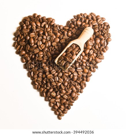 Sight 'heart' from Coffee beans on white isolated background