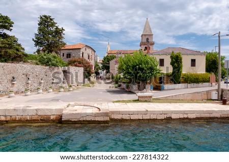 Sight of Osor town in Cres island - Croatia - stock photo