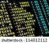 Sight on the monitor with teletext and betting offer of baseball matchups. - stock photo