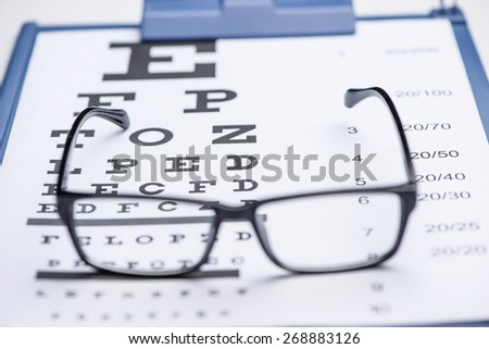 Sight test seen through eye glasses, white background isolated. Focus on letter