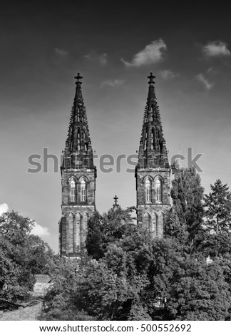 Sights Of Prague. Black-and-white photograph of an ancient temple. The two towers against the dark sky