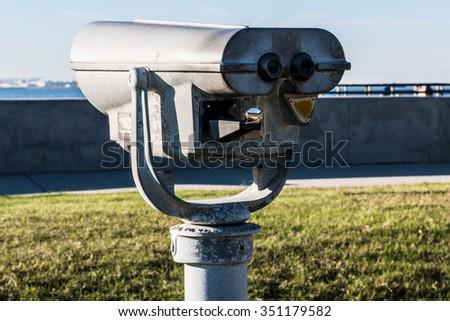 Sightseeing Binoculars at Fort Monroe in Hampton, Virginia.  - stock photo