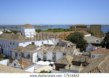 Sightseeing from city bell-tower in Faro, Portugal - stock photo